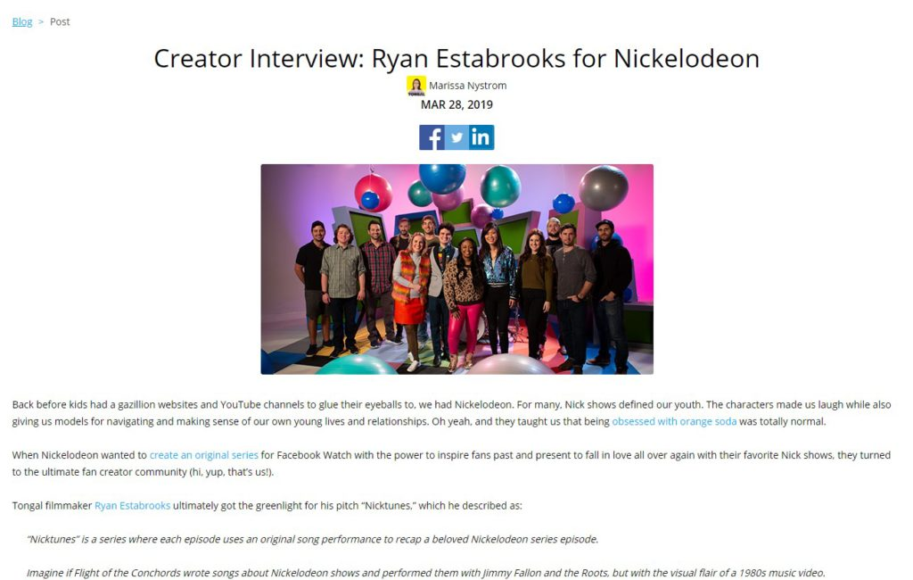 Interview with Tongal about Nickelodeon - Ryan EstabrooksRyan